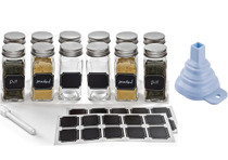 Set of 12 - 4 oz, Square Glass Spice Jars with Shaker Tops, Chalkboard Labels & Pen, Funnel and Airtight Silver Metal Lids (JSP01)