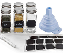 Set of 6 - 4 oz, Square Glass Spice Jars with Shaker Tops, Chalkboard Labels & Pen, Funnel and Airtight Silver Metal Lids