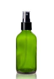 4 oz Green Glass Bottle w/ Black Fine Mist Sprayer