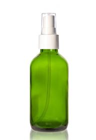 4 oz Green Glass Bottle w/ Smooth White Fine Mist Sprayer