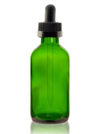 4 oz Green Glass Bottle w/ Black Child Resistant Dropper