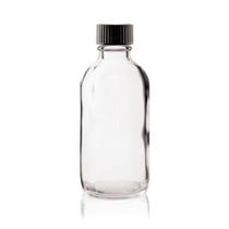 4 oz CLEAR Boston Round Glass Bottle - w/ Poly Seal Cone Cap