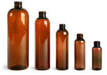 16 oz amber PET cosmo round bottle with 24-410 neck finish