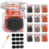 12 Pack - 3 Ounce Mini Clear Glass Spice Jar Container Set