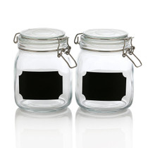 2 Pack - 32 Ounce Clear Glass Jar Container Set