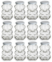 9 Ounce, Glass Bear Jar - For Honey, Jam, Favors - Case of 12 (With White Lids)