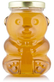 9 Ounce, Glass Bear Jar - For Honey, Jam, Favors - Case of 12 (With Black Lids)