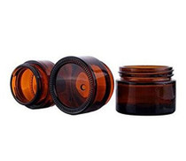 10G, Amber Glass Face Cream Pot Jar With Screw Cap And Liner