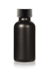 4 Oz Matt Black Glass Bottle w/ Black Poly Seal Cone Cap