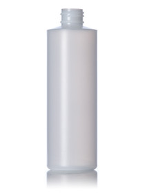 8 oz natural-colored HDPE cylinder round bottle with 24-410 neck finish