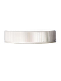 White PP 48-400 ribbed skirt lid with printed pressure sensitive (PS) liner