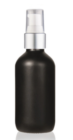 1 Oz Matt Black Glass Bottle w/ Matte silver and White Treatment Pump