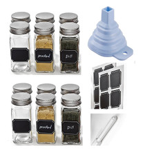 et of 12 - Square Glass Spice Jars with Shaker Tops, Chalkboard Labels & Pen, Funnel and Airtight Silver Metal Lids, 4 Ounce Capacity