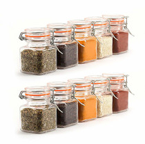 12 Pack - 3.4 Ounce Mini Square Glass Spice Jar with Orange Flip-Top Gasket, Airtight Clear Storage Jars, with REUSABLE labels and Pen