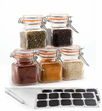 3.4 Ounce Mini Square Glass Spice Jar with Orange Flip-Top Gasket, Airtight Clear Storage Jars, with REUSABLE labels and Pen