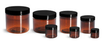 16 oz Amber PET single wall jar with 89-400 neck finish w/ Black Plastic Lined Cap - Case of 245