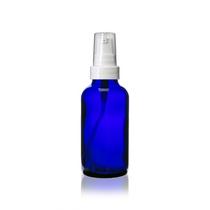 1 oz Cobalt BLUE Glass Bottle w/ White Treatment Pump