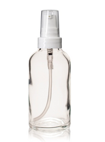 1 oz CLEAR Glass Bottle - w/ White Treatment Pump