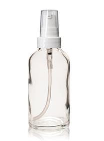 2 oz CLEAR Glass Bottle - w/ White Treatment Pump