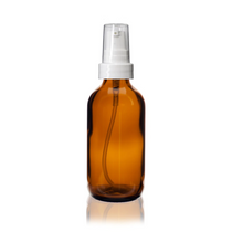 2 oz AMBER Glass Bottle - w/ White Treatment Pump