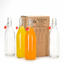 Set of 4-33.75 Oz Giara Glass Bottle with Stopper Caps, Carafe Swing Top Bottles with Airtight Lids
