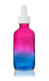 2 Oz Multi Fade Cosmic Cranberry and Teal blue Bottle With White Regular Dropper