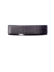 Black PP 45-400 ribbed skirt lid with unprinted pressure sensitive (PS) liner