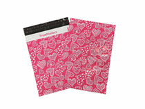 """10""""x 13"""" Hot Pink Poly Mailer with Multi-Shape Hearts 100 per Bag"""