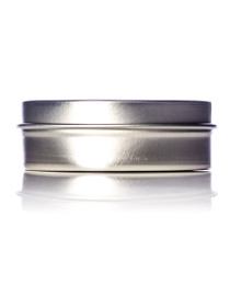 2 oz silver steel flat tin with slip cover lid