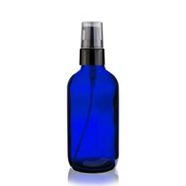 4 oz Cobalt BLUE Glass Bottle 22-400 mm neck finish- w/ Black Treatment Pump 22-400mm neck finish