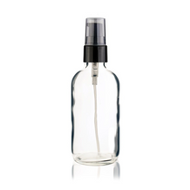 4 oz Clear Boston Round Bottle 22-400 mm neck finish- w/ Black Treatment Pump 22-400mm neck finish