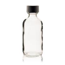2 oz CLEAR Boston Round Glass Bottle - w/ Poly Seal Cone Cap