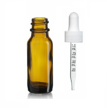 1/2 oz (15ml) AMBER Glass Bottle - w/ White Calibrated Gl