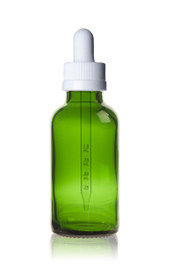 1/2 oz (15ml) GREEN Glass Bottle w/ White Calibrated Glass Dropper