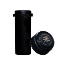 8 Dram Push & Turn Reverse Cap Bottles - 410/ Case - Black