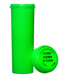 60 Dram Push & Turn Reverse Cap Bottles - 100/ Case - Green