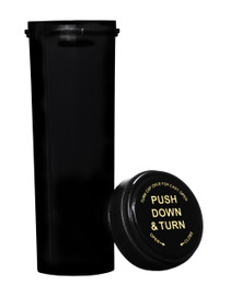60 Dram Push & Turn Reverse Cap Bottles - 100/ Case - Black