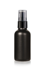 1 Oz Matt Black Glass Bottle w/ Black Treatment Pump