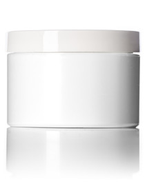 2 oz white PP/PS double wall straight base jar with white PP 58-400 smooth skirt lid with unprinted pressure sensitive (PS) liner