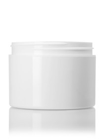 8 oz white PP/PS double wall straight base jar with white PP 89-400 smooth skirt lid with unprinted pressure sensitive (PS) liner