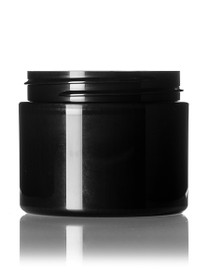 2 oz black PP/PS double wall straight base jar with white PP 58-400 smooth skirt lid with unprinted pressure sensitive (PS) liner