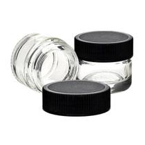 ($0.32 each) Glass Concentrate Container - 5ML - Black Cap - 250 Count