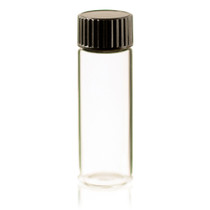 1 Dram Clear Glass Vial - w/Orifice Reducer & Black Cap