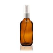 Boston Round Glass Bottle 2 oz Amber - w/White Fine Mist Sprayer