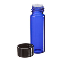 1 Dram Cobalt Blue Glass Vial - w/Orifice Reducer & Black Cap