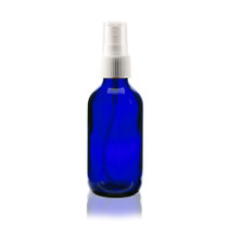 Boston Round Glass Bottle 2 oz Cobalt Blue - w/White Fine Mist Sprayer