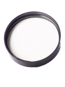 Black PP 48-400 smooth skirt lid with foam liner