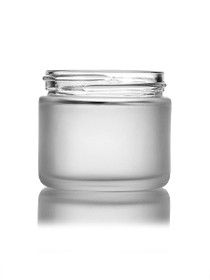 2oz Frosted GLASS Jar Straight Sided with White Lids