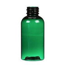 2 oz Green PET boston round bottle with 20-410 neck finish with Black PP ribbed skirt lid with foam liner- Case of 260