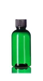 2 oz Green PET boston round bottle with 20-410 neck finish with Black PP ribbed skirt lid with foam liner